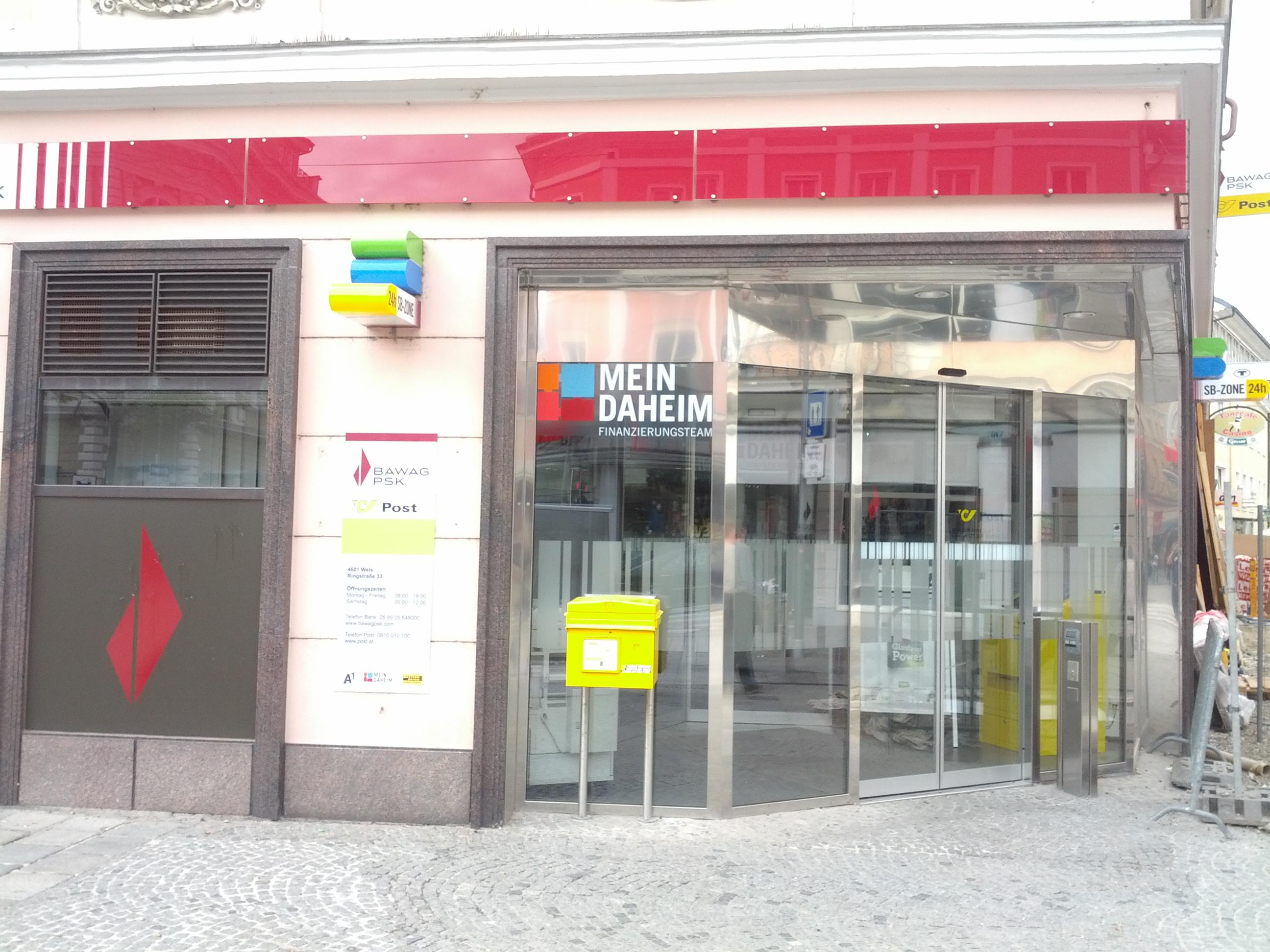 BAWAG P. S. K. Bank für Arbeit und Wirtschaft und Österreichische Postsparkasse AG Filiale Wels