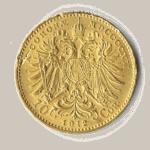 10 Kronen Goldmünze, die Rückseite mit dem Dopppeladler der KuK Monarchie