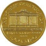 Die Rückseite des goldenen Philharmoniker. 1 Unze Gold ist dieser Philharmoniker