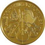 Der goldene Philharmoniker in Gold, mit Nennwert 100 Euro, die Vorderseite